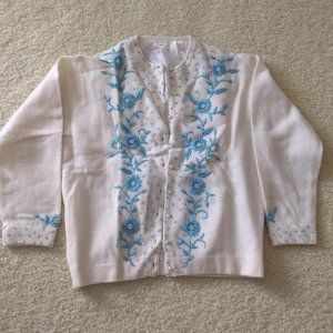 vintage beaded white wool button cardigan